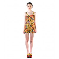 Overall Short Yellow Floral