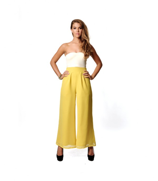 Boho Lambada Chiffon Pants in Lemon Yellow